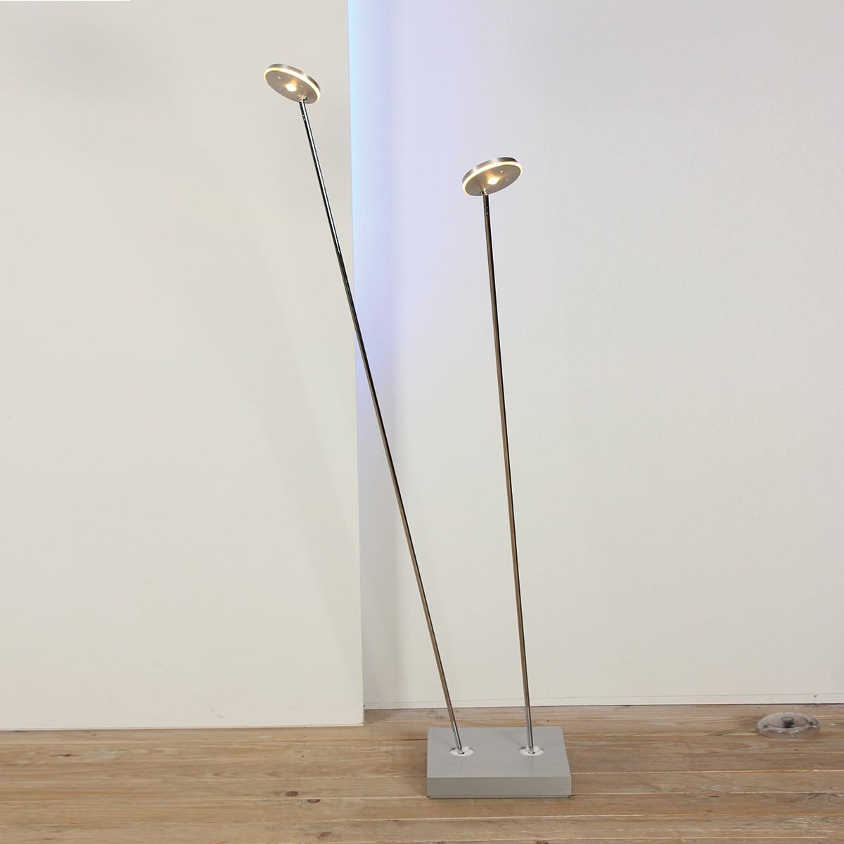 Escale Spot It LED Stehleuchte, 2-flg., Alu geschliffen / hochglanzchrom