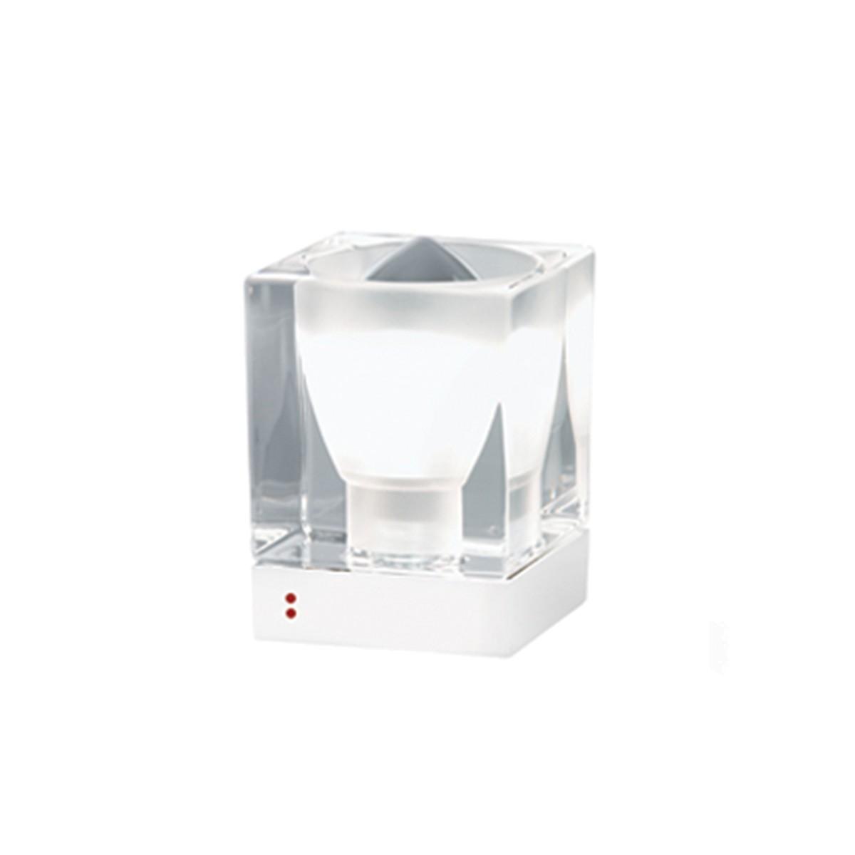 Fabbian Cubetto Tischleuchte, E14, transparent - weiß