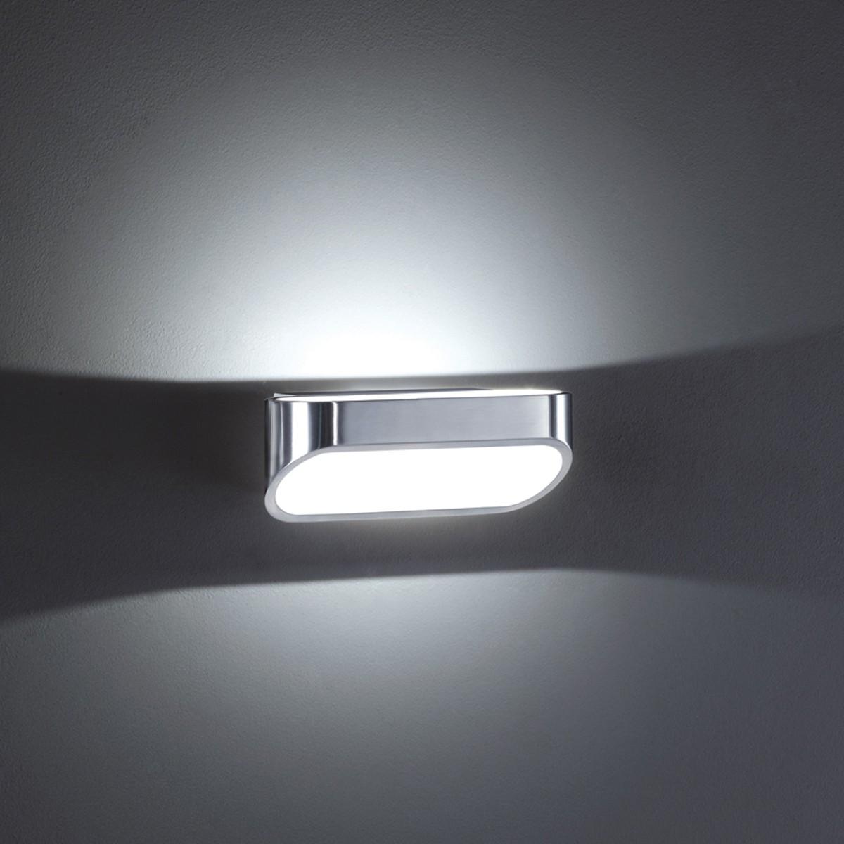 Helestra Onno Wandleuchte, Aluminium poliert / weiß matt, Länge: 18 cm
