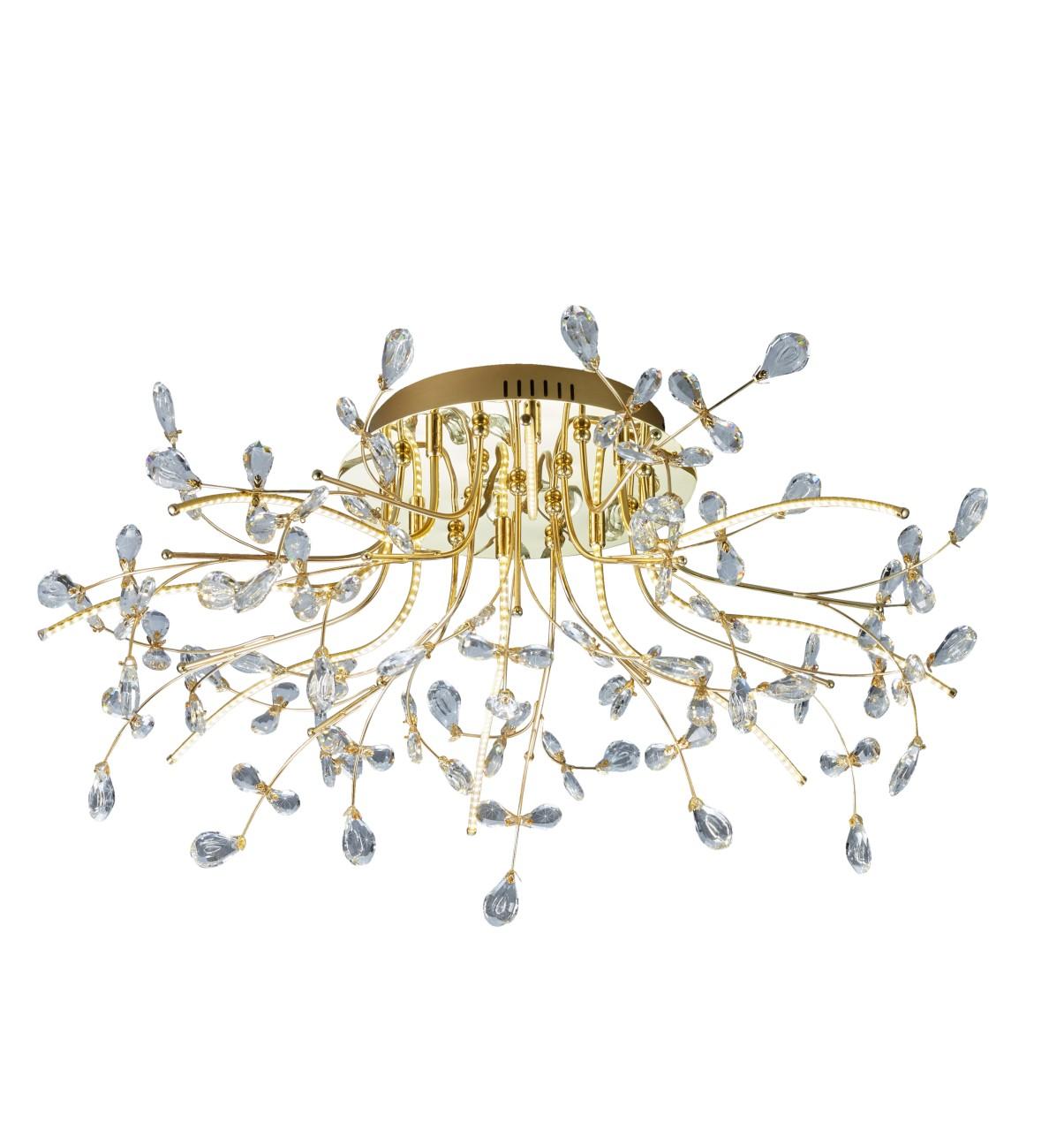B-Leuchten Crystal LED Deckenleuchte, Ø: 77 cm, Messing blank
