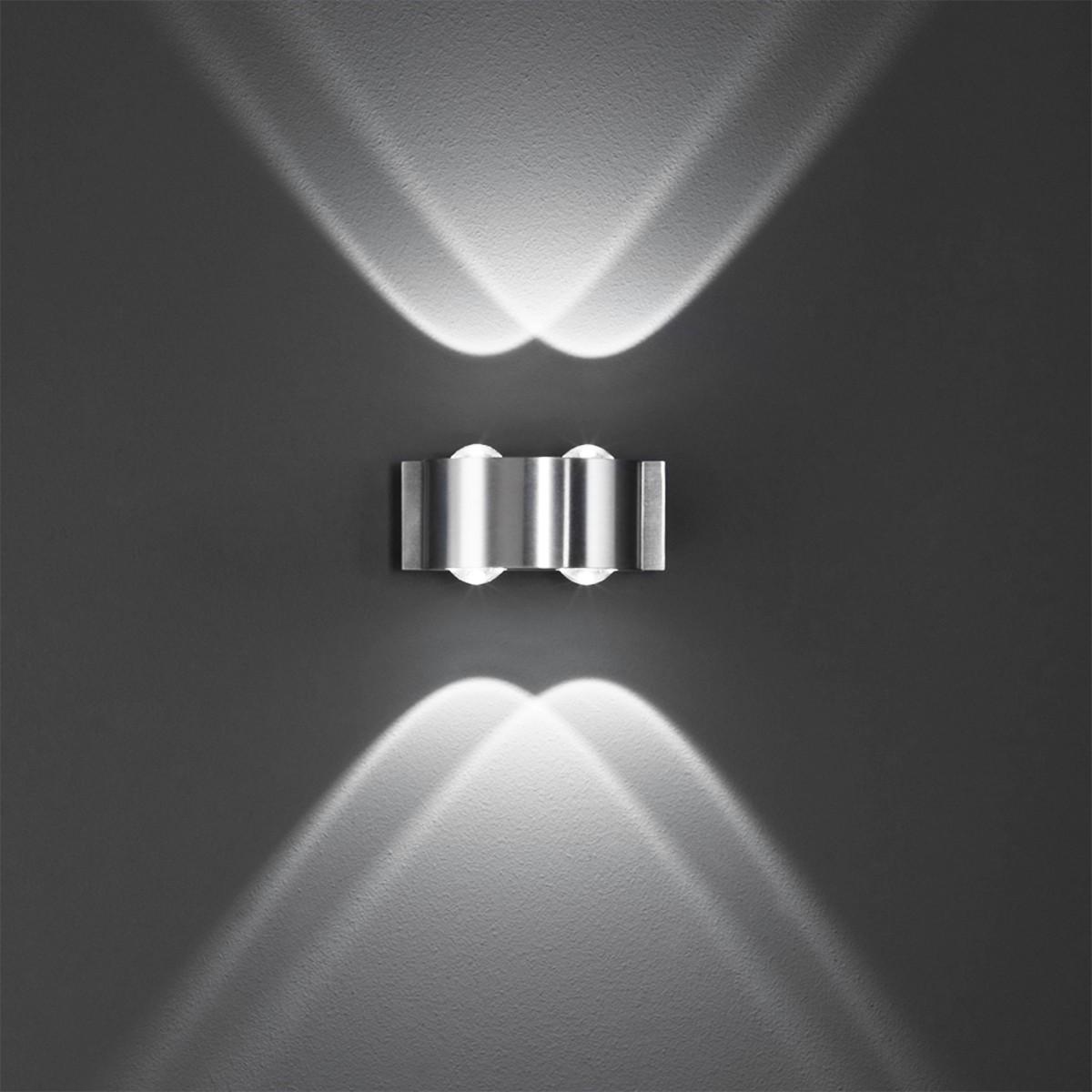 B-Leuchten Stream LED Wandleuchte, 4-flg., Aluminium