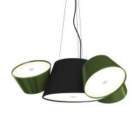 Tam Tam Mini Pendelleuchte, Zentralschirm: schwarz, Schirme: grün
