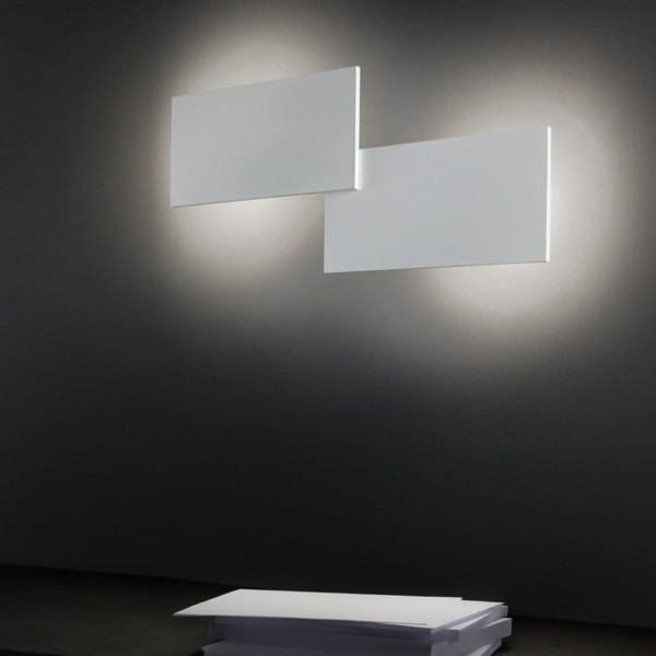 Studio Italia Design Puzzle Double Rectangle Wand- / Deckenleuchte, weiß matt