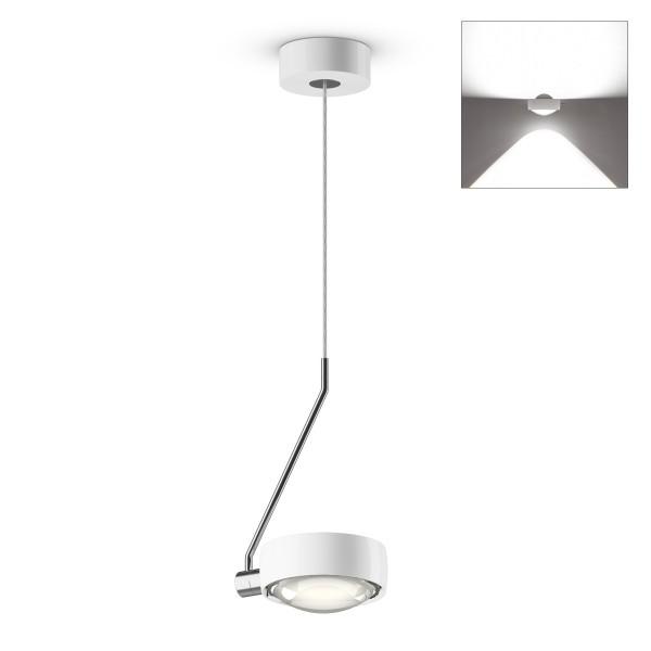 Occhio Sento E LED filo singolo up Pendelleuchte, Chrom / weiß glänzend