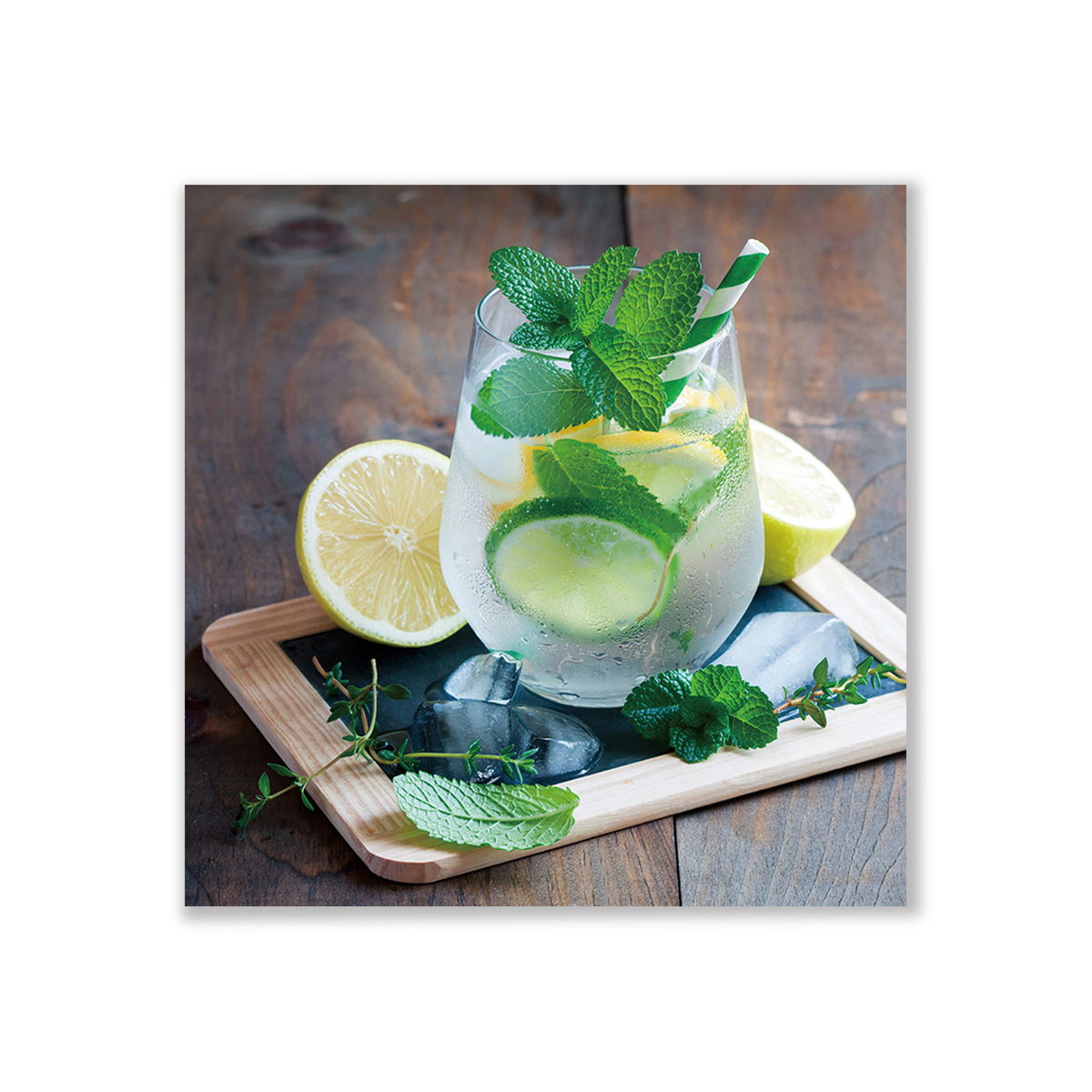 ImageLand Glasbild Digitaldruck Cocktail mit Zitronen, 60 x 60 cm 752091