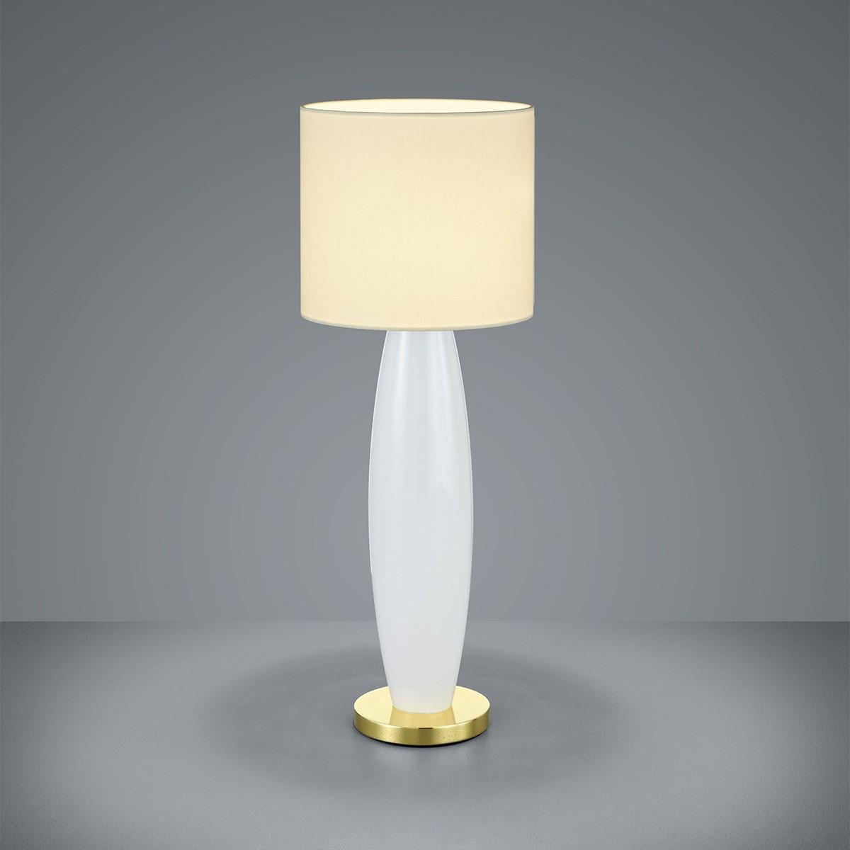 Bankamp Venice Tischleuchte, Höhe: 65 cm, Glas opalweiß / Messing blank