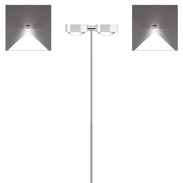 Occhio Sento C LED terra Stehleuchte, Chrom / weiß glänzend