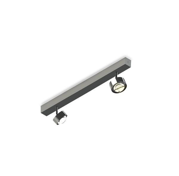 Top Light Puk Choice Turn Deckenleuchte, 45 cm, Chrom, mit Linsen klar