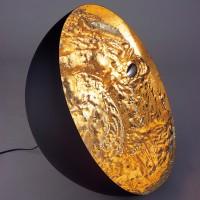 Stchu-Moon 01 Bodenleuchte, Ø: 40 cm, Gold, außen schwarz