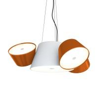 Tam Tam Mini Pendelleuchte, Zentralschirm: weiß, Schirme: orange