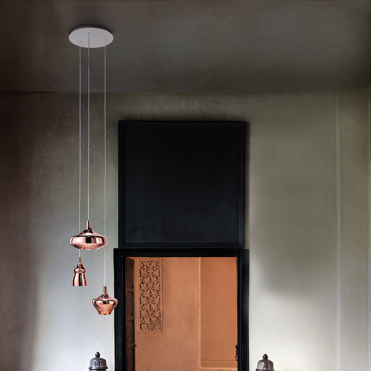 Studio Italia Design Nostalgia Glas Small/Medium/Large Pendelleuchte 3-flg., Chrom - Rose Gold