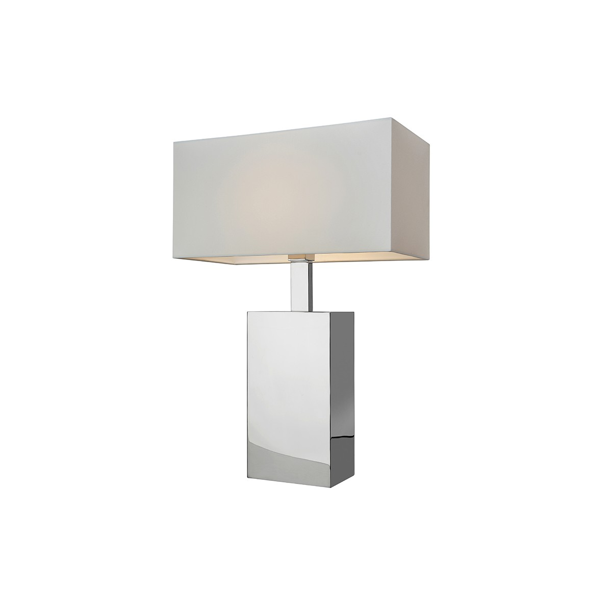 Sompex Block Tischleuchte, Höhe: 56 cm, Edelstahl - Textil: weiß