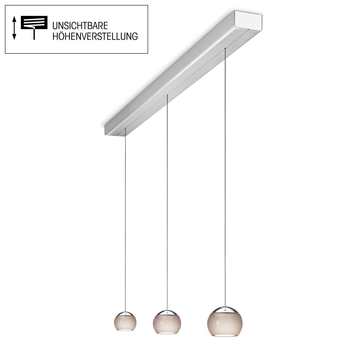 Oligo Balino LED Pendelleuchte, 3-flg., unsichtbare Höhenverstellung, Baldachin: Alu gebürstet, Chrom / diamantgrau glänzend