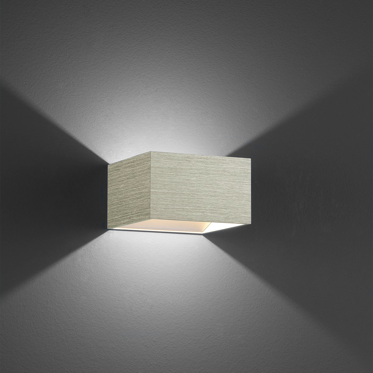 B-Leuchten Cube Wandleuchte, hellgrau eloxiert