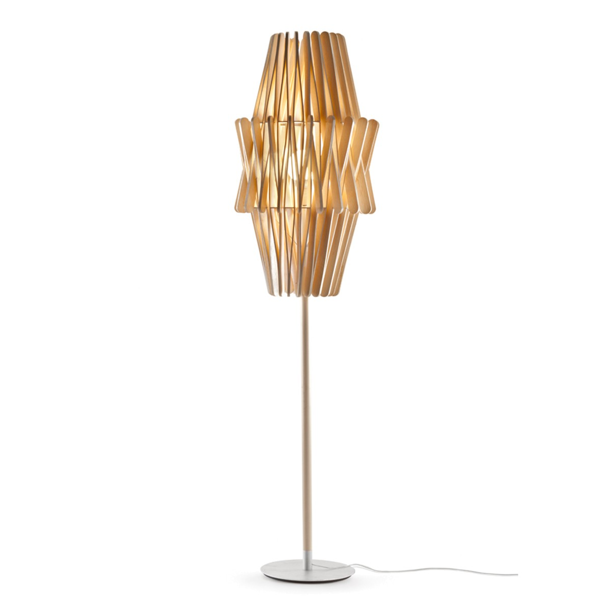 Fabbian Stick Doppio Cono Stehleuchte LED (E27), Holz