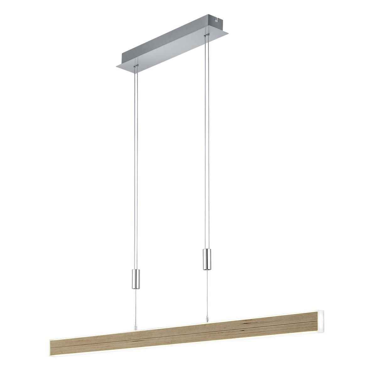 B-Leuchten Kiruna Wood Pendelleuchte, Multiplex Birke / Nickel matt