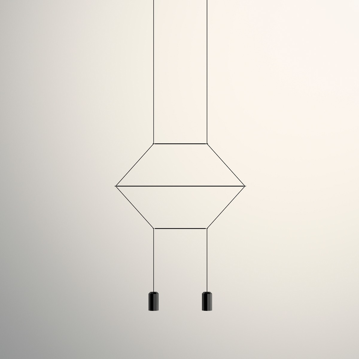 Vibia Wireflow Pendelleuchte, linear, 2-flg., schwarz