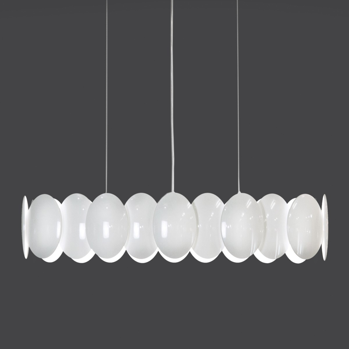 Milan Obolo Pendelleuchte, oval, weiß lackiert