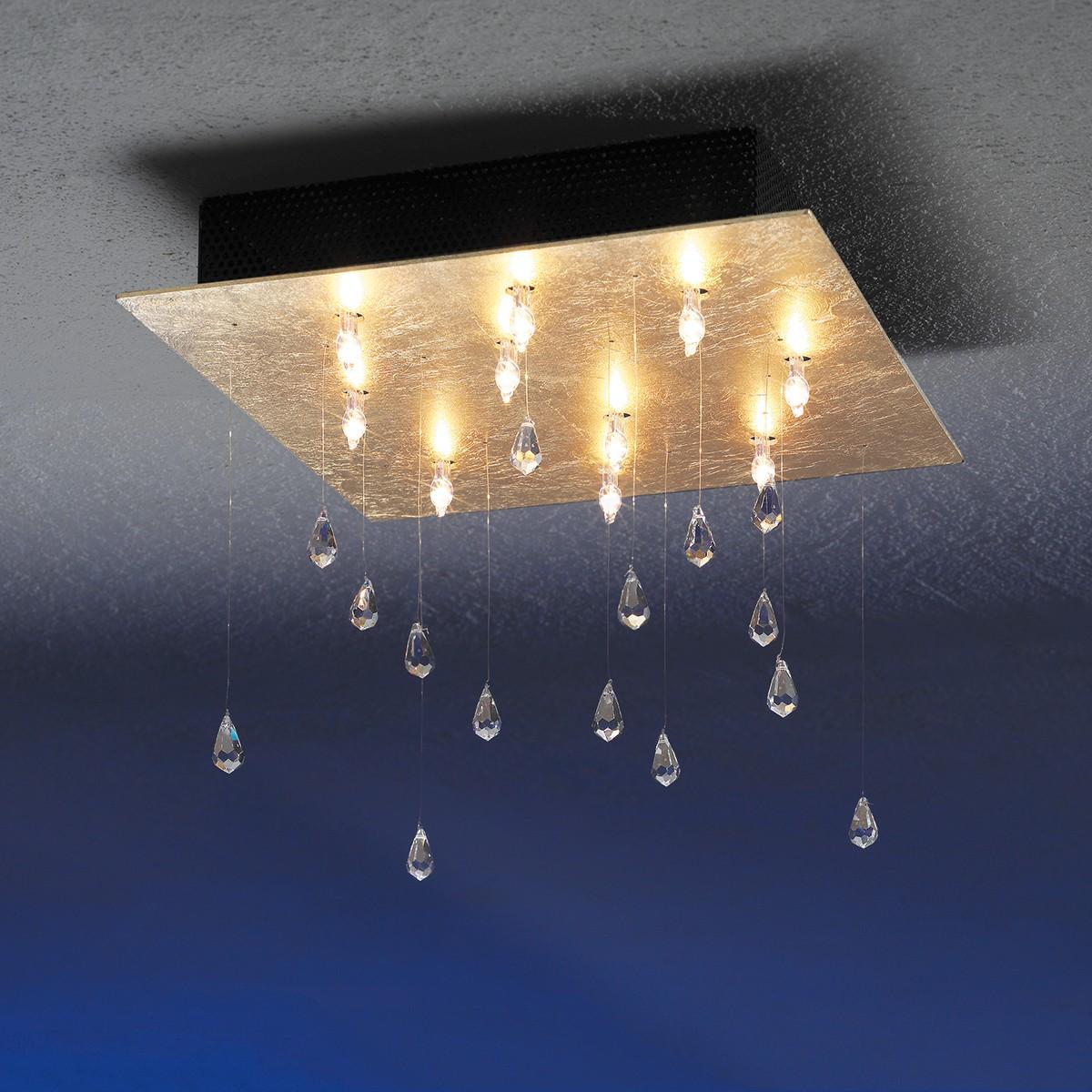 Escale Crystal Rain Deckenleuchte, Blattgold
