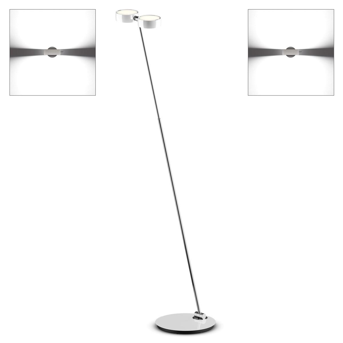 Occhio Sento A LED terra Stehleuchte, 2700 K, Chrom / weiß glänzend