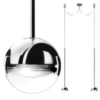 Convivio new LED Sopratavolo Due, Chrom, Linse transparent