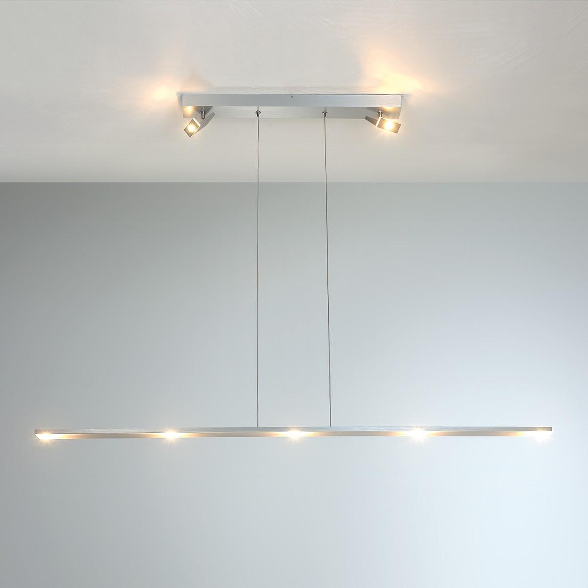 Bopp LEDs Show Pendelleuchte, Aluminium geschliffen, Strahler Aluminium geschliffen