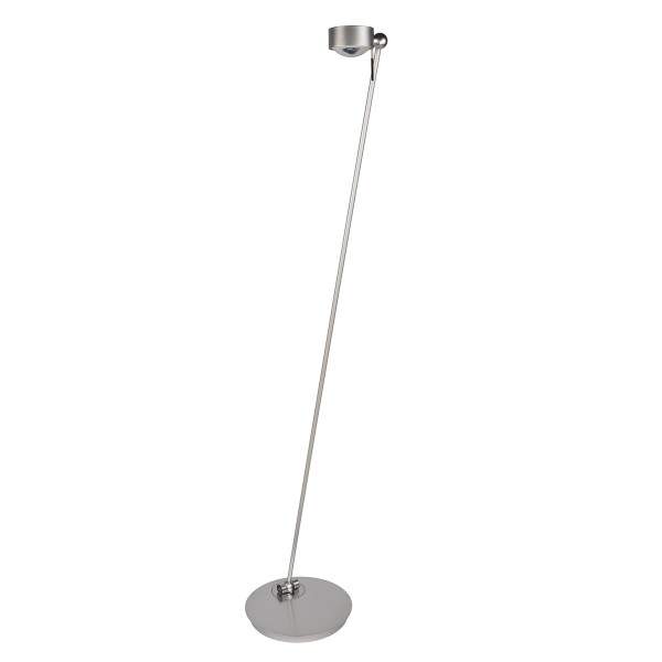Top Light Puk Floor Mini LED Single Stehleuchte, Chrom matt, Glas satiniert / Linse klar