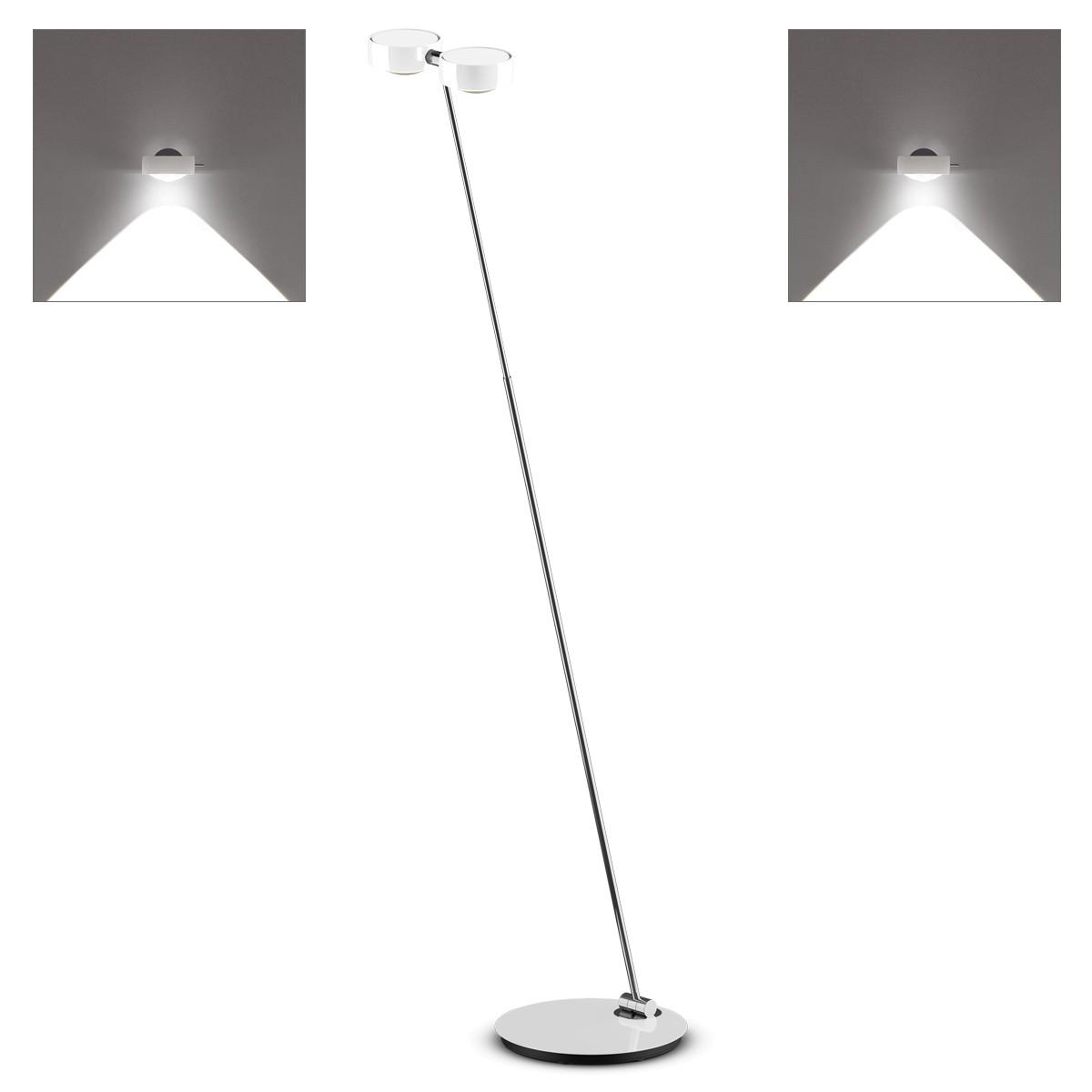 Occhio Sento C LED terra Stehleuchte, 2700 K, Chrom / weiß glänzend
