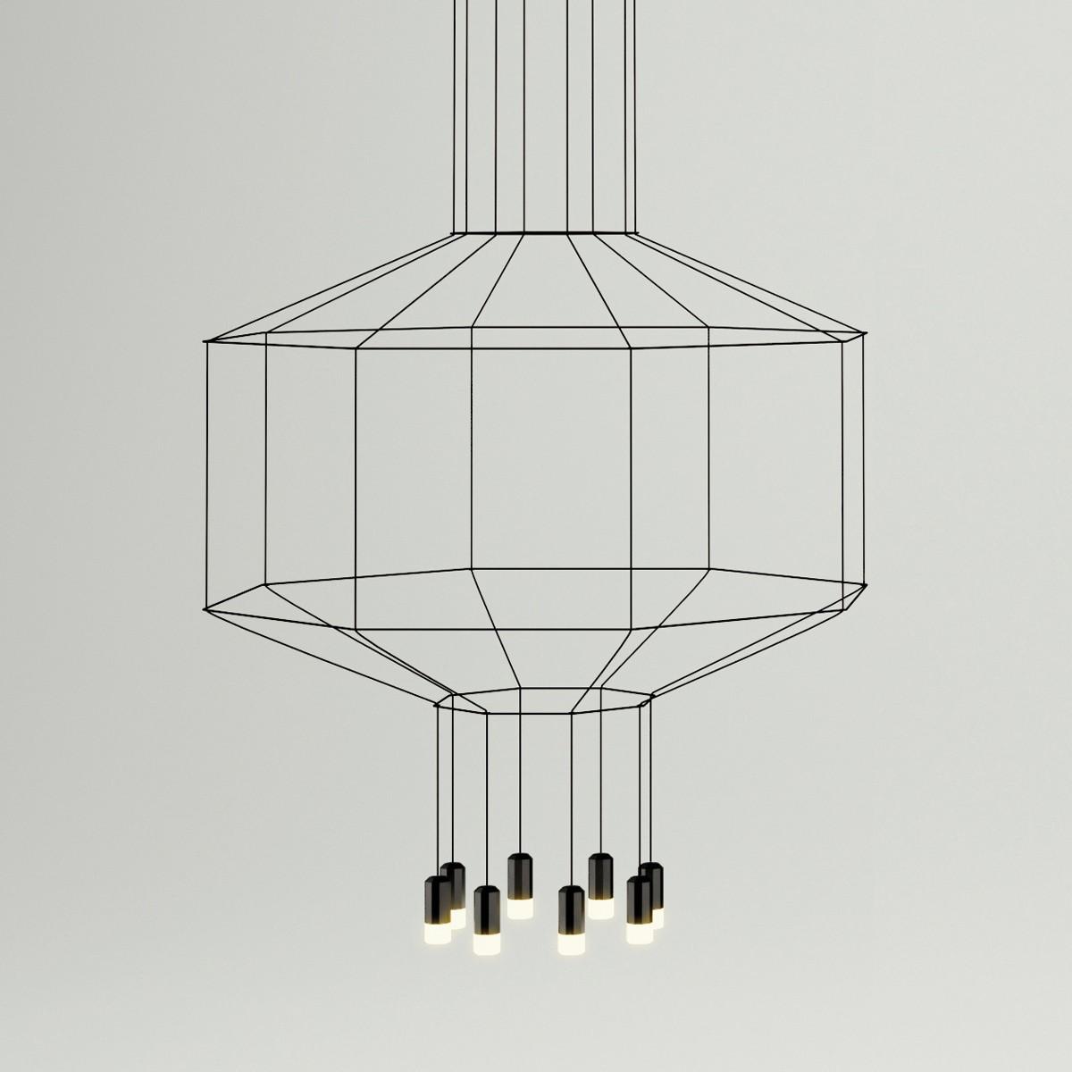 Vibia Wireflow Pendelleuchte, 8-flg., 150 x 150 cm, schwarz