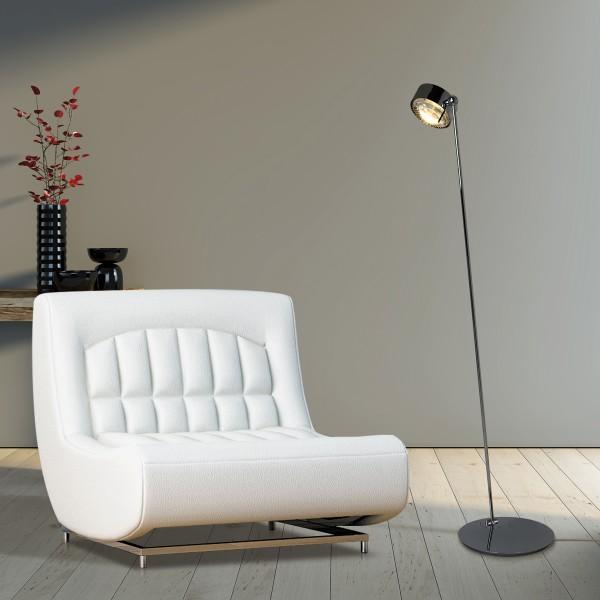 Top Light Puk Maxx Floor Mini LED Stehleuchte, Chrom, Glas satiniert / Linse klar