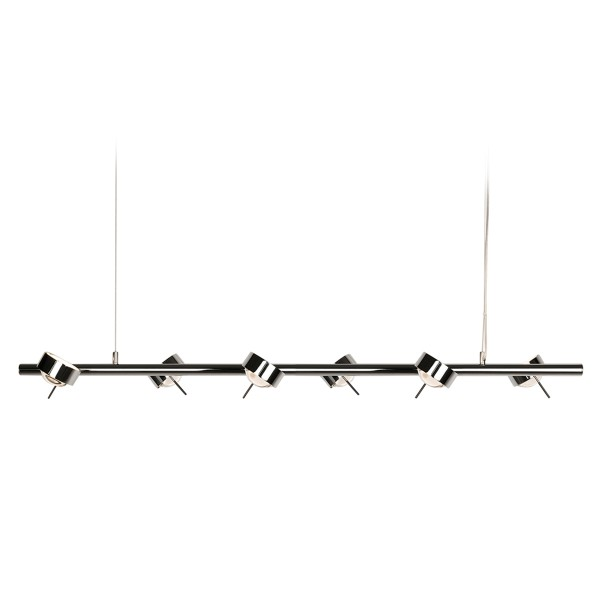 Top Light Puk Sixtett LED Pendelleuchte, Chrom, mit Einsätzen Glas satiniert / Linse klar