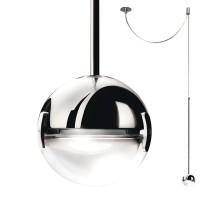 Convivio new LED Sopratavolo Decentrata, Chrom, Linse sandgestrahlt