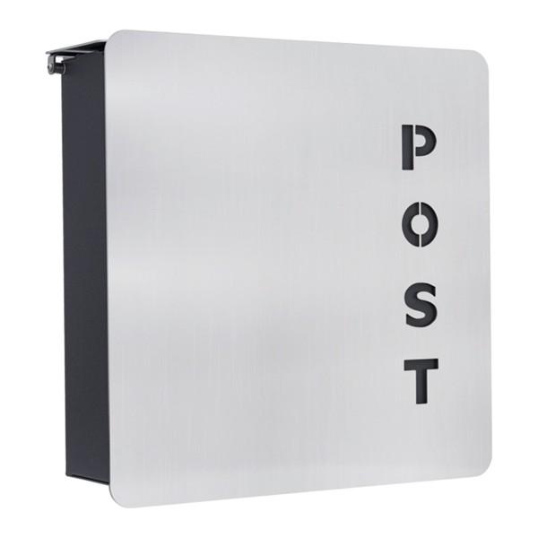 Heibi Fondo-Verre Briefkasten, Materialmix Edelstahl und grafitgrau