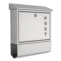 """Briefkasten mit Schriftzug """"Post"""", Edelstahl"""