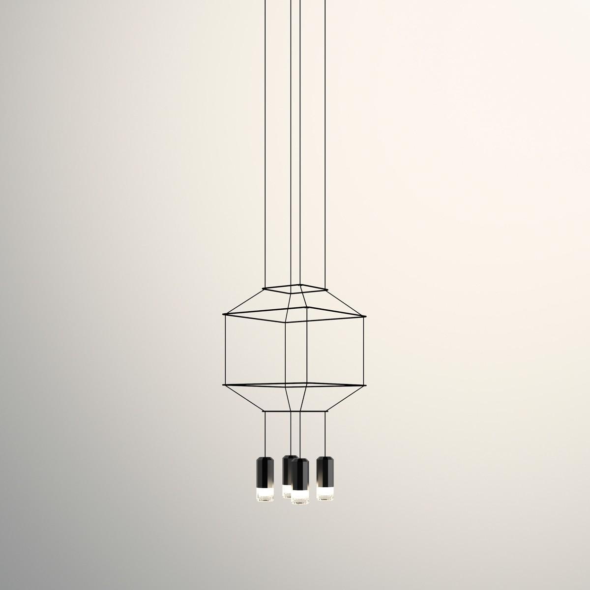 Vibia Wireflow Pendelleuchte, 4-flg., 50 x 50 cm, schwarz