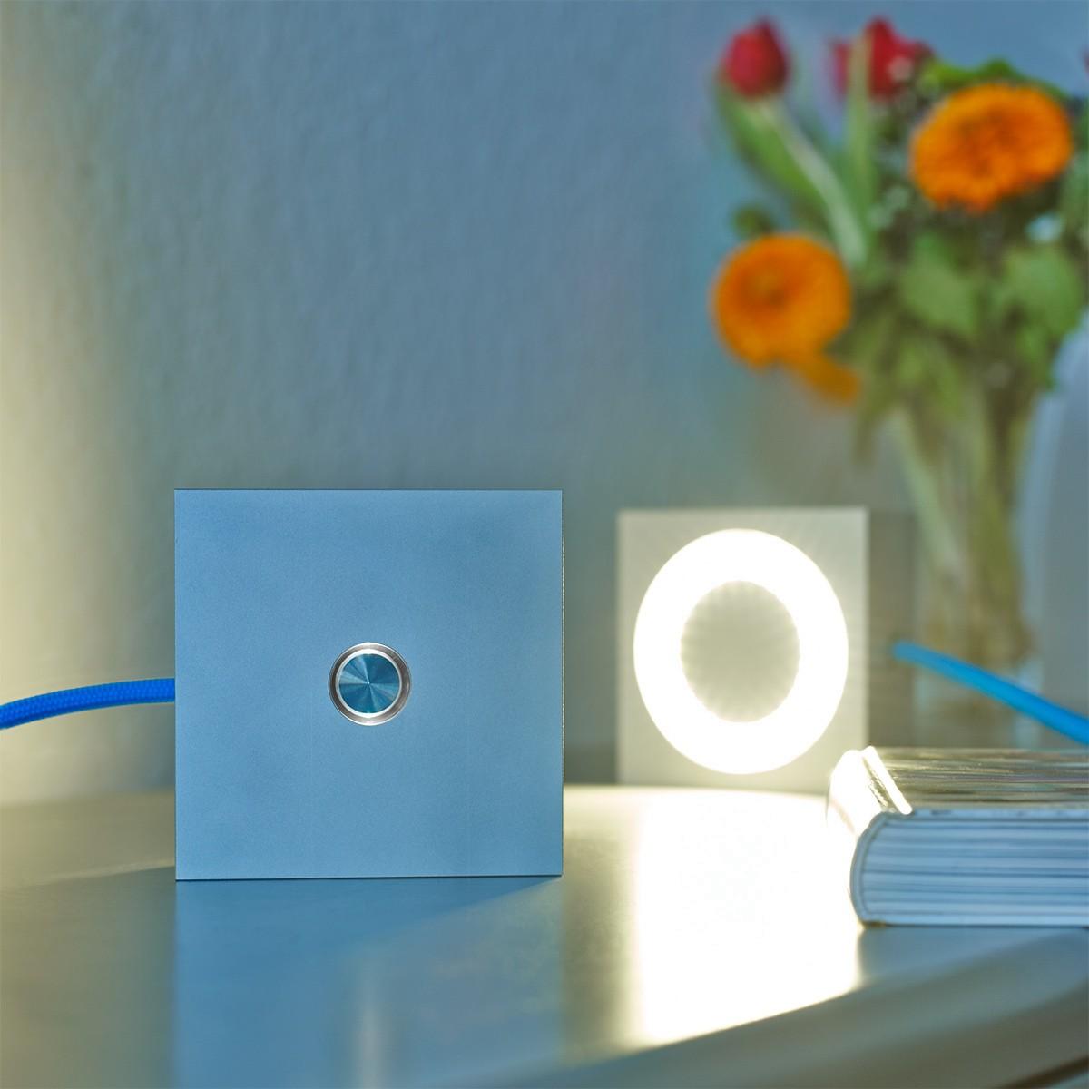 Tecnolumen Square Tischleuchte, Alu eloxiert, Zuleitung: blau