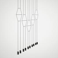 Wireflow Pendelleuchte, linear, 10-flg., schwarz
