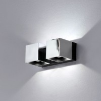 Mini Dau LED Up & Down Wandleuchte, 4-flg., Chrom / schwarz