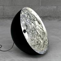 Stchu-Moon 01 Bodenleuchte, Ø: 40 cm, Silber, außen schwarz