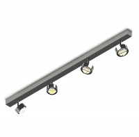 Puk Choice Turn LED Deckenleuchte, 125 cm, Chrom, mit Linsen klar