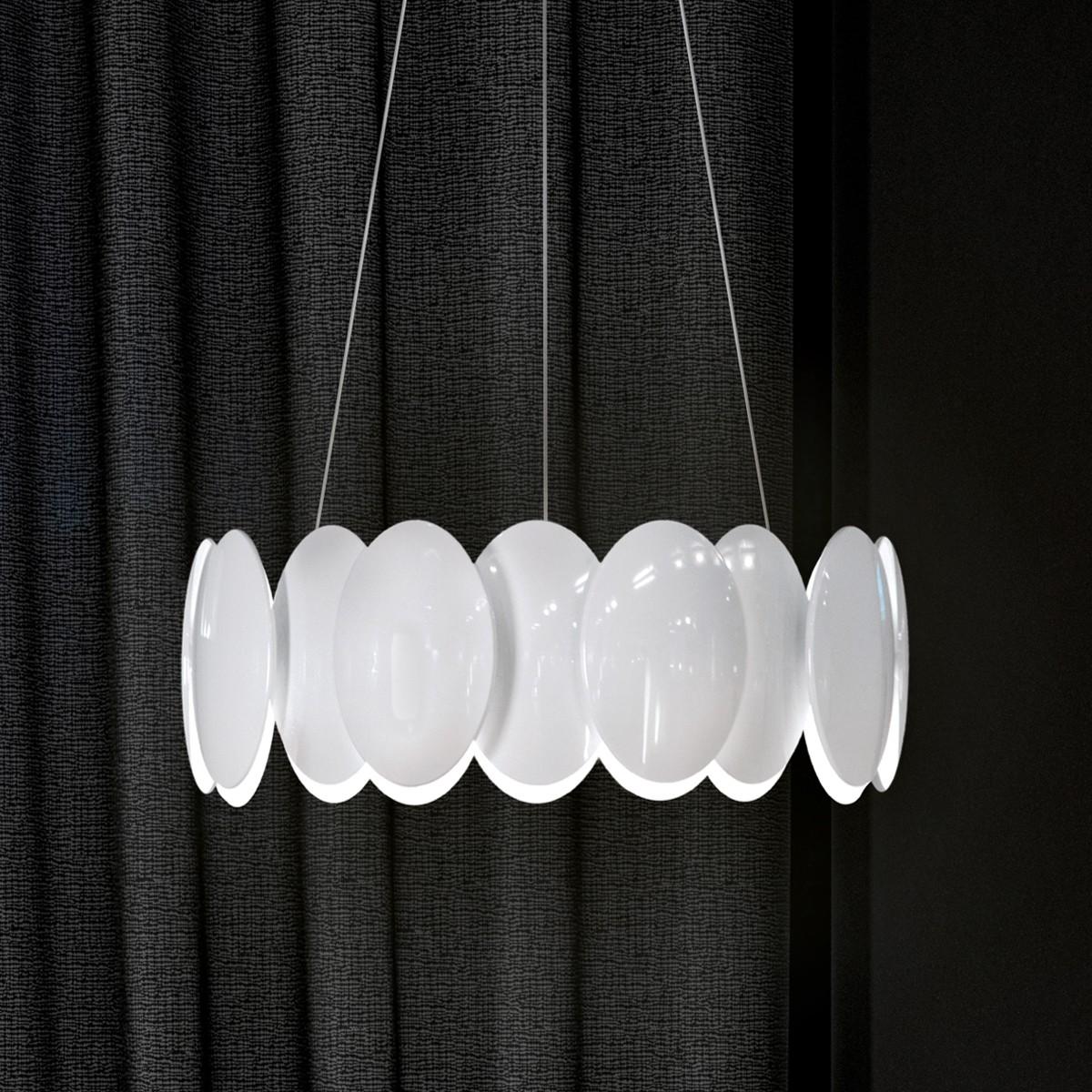 Milan Obolo Pendelleuchte, Ø: 42,9 cm, weiß lackiert