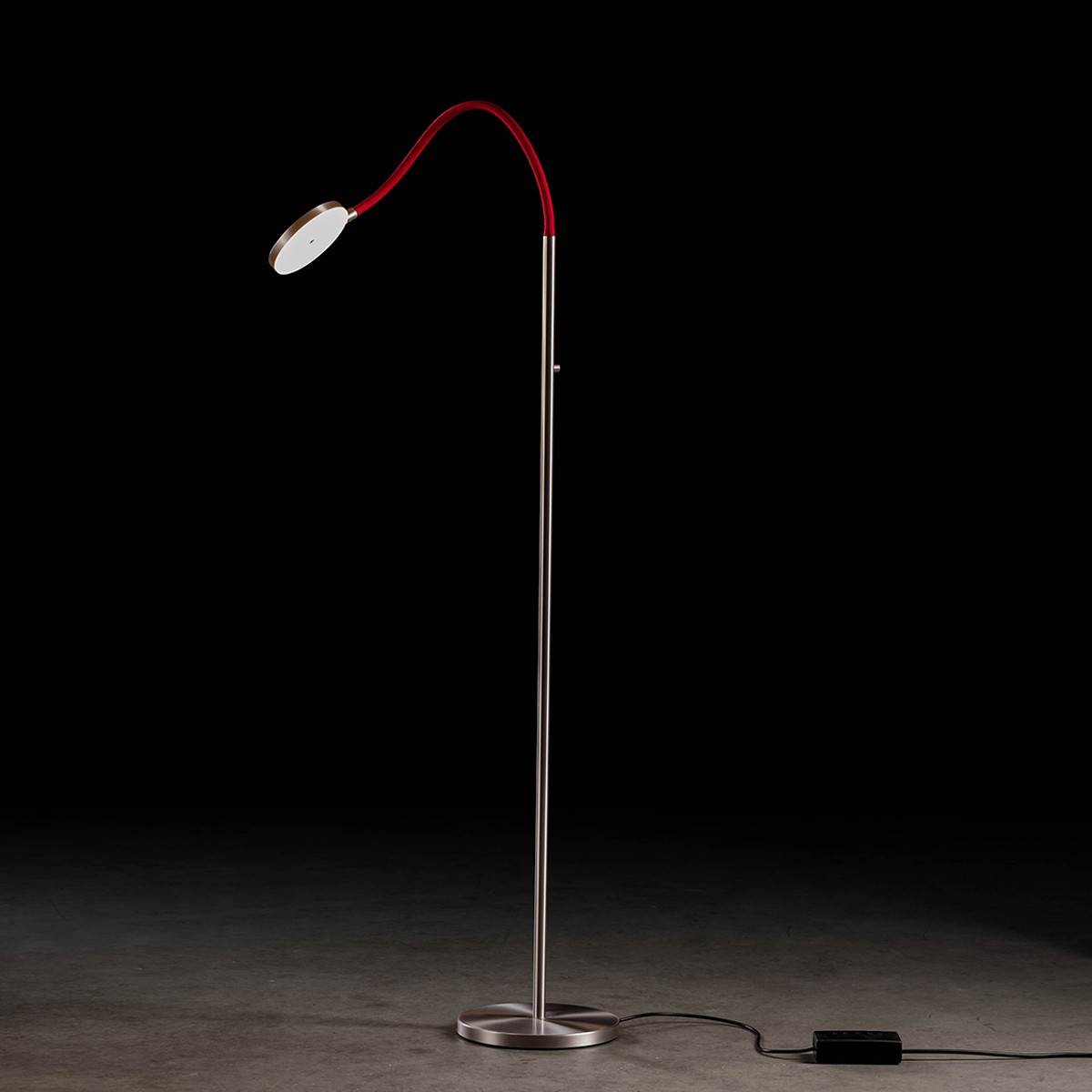 Holtkötter Leuchten Flex S LED Stehleuchte, Aluminium matt / rot