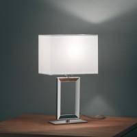 Enna 2 Tischleuchte, Höhe: 29,5 cm, Chintz weiß / Nickel blank