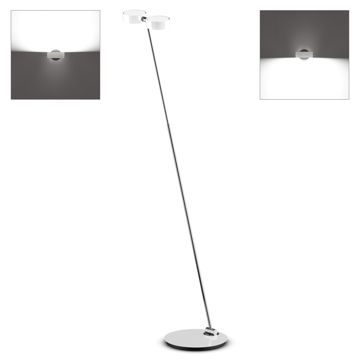 Occhio Sento B LED terra Stehleuchte, 2700 K, Chrom / weiß glänzend