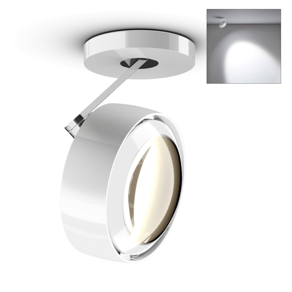 Occhio Più alto 3d Volt S40 Deckenstrahler, 2700 K, weiß glänzend / Chrom