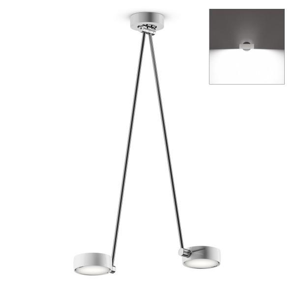 Occhio Sento B LED soffitto due up, 80 cm, Chrom / weiß glänzend