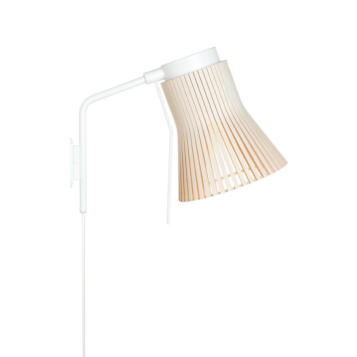 Secto Design Petite 4630 Wandleuchte, weiß, Schirm: Birke natur