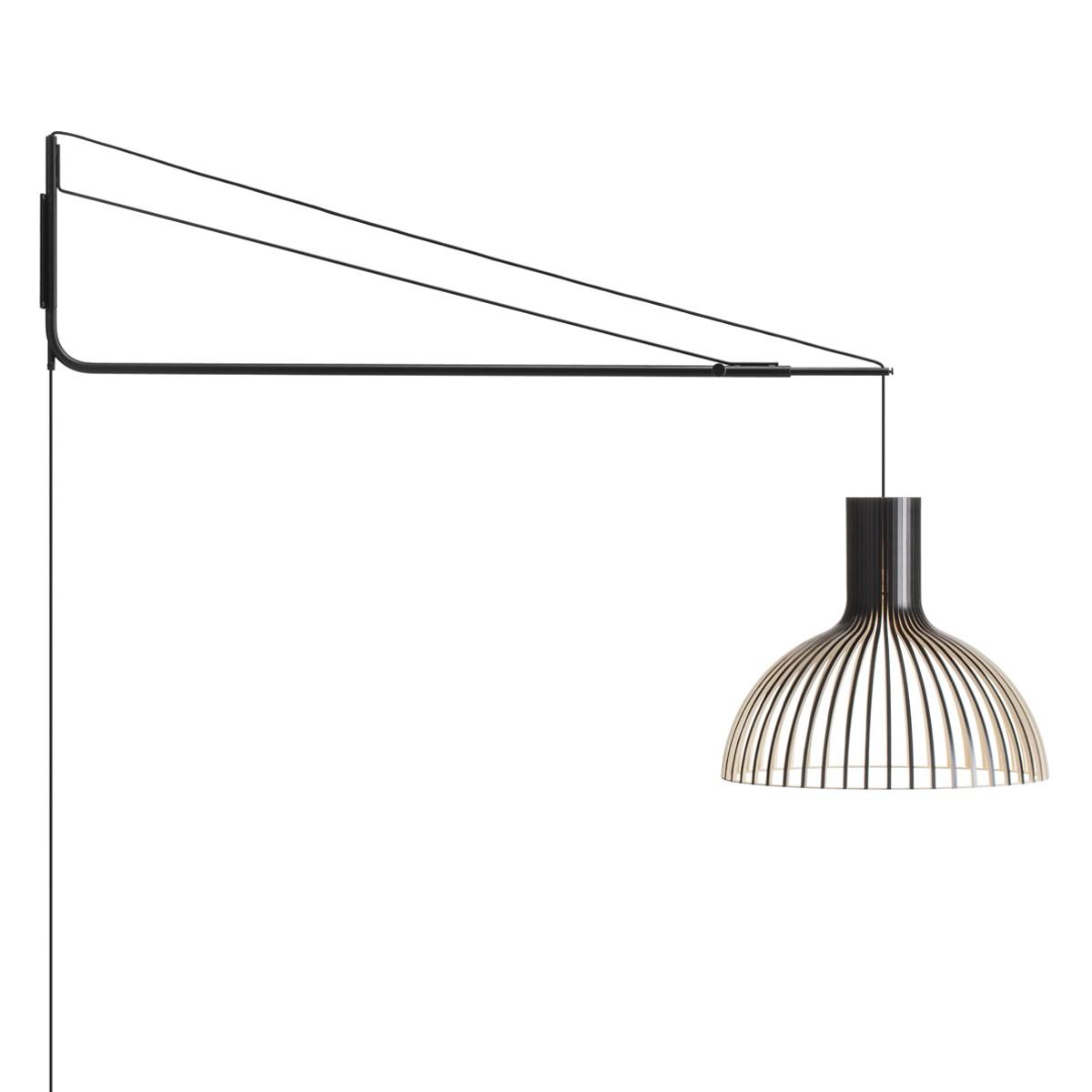Secto Design Varsi 1000 Wandleuchte mit Victo 4250, schwarz, Schirm: schwarz laminiert