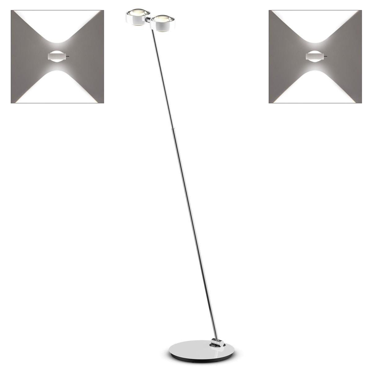 Occhio Sento D LED terra Stehleuchte, 2700 K, Chrom / weiß glänzend