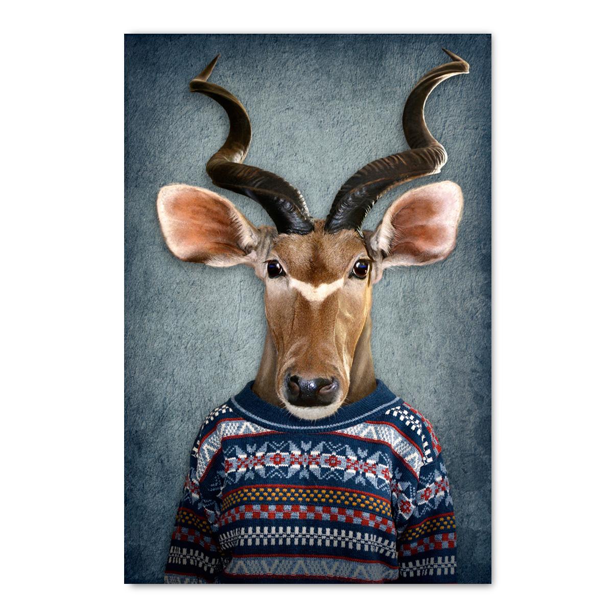 ImageLand Glasbild Digitaldruck Antilope mit Pullover, 120 x 80 cm 853064